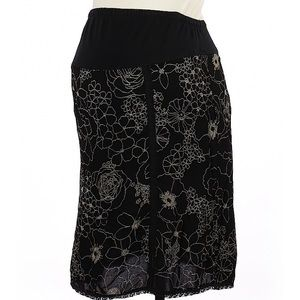 Mimi Maternity knee length black embroidered skirt